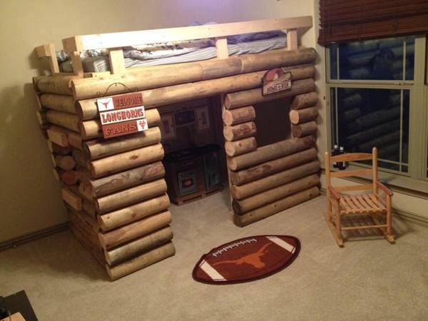 "Rustic Bed For A Boys (Or A Girls)Room...Custom Built Log Cabin Twin Bunk Bed Playhouse. The Bed In The Photo Is A Model That Was Built…The Person Advertising Can Also Change The Design If You Would Like…  Text/Call If Interested 817-781-5131 (Texas Number) Feel Free To Text With Any Questions... $650 Cash Only…  Custom Built Rustic Kid Furniture... This Is Hand Made, Not From The Store Made From Solid Wood 5"" Post…  Structure Is Approximately 46""W X 84""L X 64""H  Will Not Come With Mattress…"