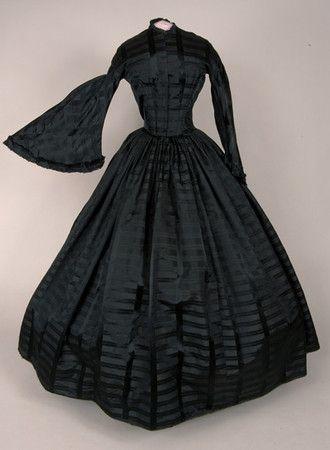 Black Silk Plaid Mourning Dress, c. 1850