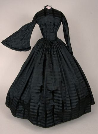 Black Silk Plaid Mourning Dress, c. 1850: Mourning Dress, Dresses, Civil War, 1850 S, Plaid Mourning, Silk Plaid, Black Silk, 1850S, 1800 S