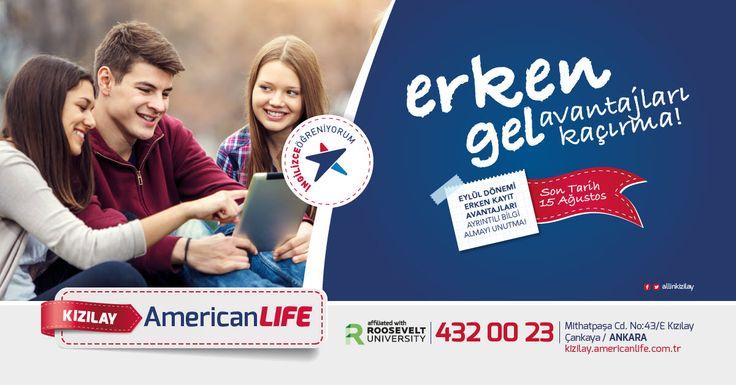 Erken Kayıt Avantajı için Geri Sayım Başladı.  American LIFE Dil Okulları Ankara Kızılay'da alanında uzman eğitim kadrosuyla , Genel İngilizce ve çocuk programlarında Eylül Erken Kayıt Avantajı indirimi için acele edin. 15 Ağustos'a kadar devam edecek kampanyamız ve fiyatlarla ilgili detaylı bilgileri sizinle paylaşabilmemiz adına sizleri kahvemizi içmeye davet ediyoruz.  Eğitimlerimiz ;   Avrupa