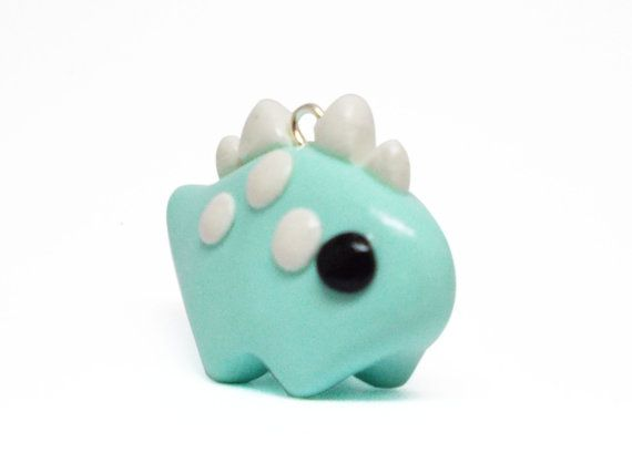 Kawaii Green Dino Polymer Clay Charm by LovelyLittleCuties on Etsy, £7.00