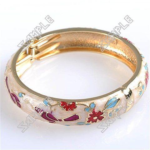 Diameter Bird & Flower Patterned Split Cuff Bangle Bracelet