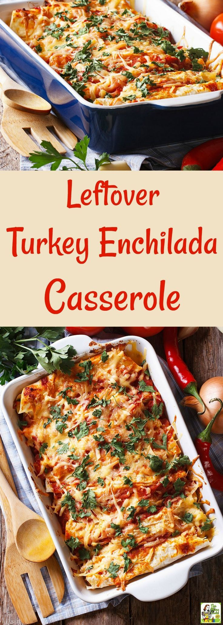 Got too much turkey? Make Leftover Turkey Enchilada Casserole! Try this turkey enchilada casserole recipe after Thanksgiving. This gluten free enchilada casserole recipe also works with many types of meats like shredded pork, beef, or ground taco meat. #turkey #thanksgiving #glutenfree #tacotuesday #taconight #casserole #mexicanfood #onepot #healthyrecipe #leftovers