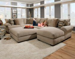 Baccarat Taupe 3 PC. Sectional Sofa Oh how I wish this was in a tab bit darker color. .. still LOVE and debating on purchasing for my new home! $1898...love how big this is