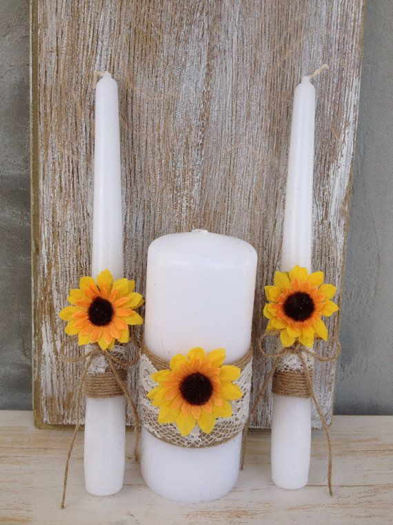 Unity Candle Set Sunflower wedding Rustic Candles burlap Lace Candle  Wedding ceremony