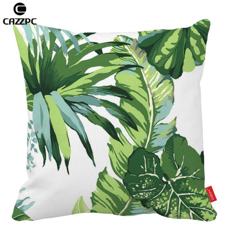 Акварель тропическое растение зеленый пальмовых листьев печать автомобиля декоративные бросок наволочки чехол диван домашнего декора купить на AliExpress