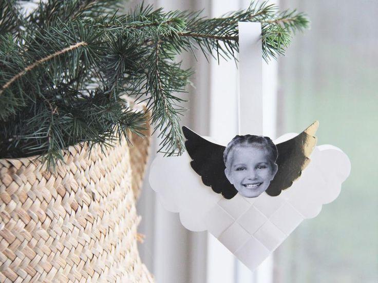 Flettede engle på sky - DIY julepynt - print selv skabelon og glanspapir