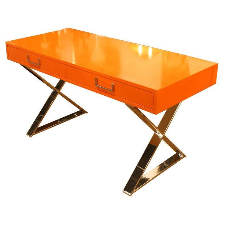 orange lacquered campaign desk by milo baughman