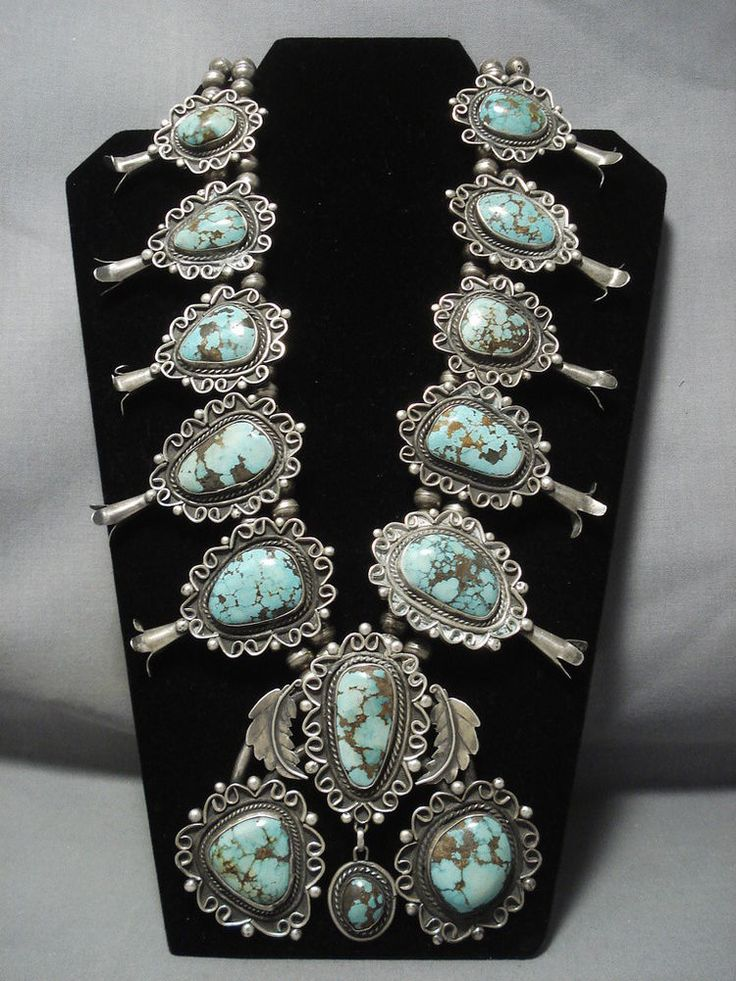 THE BEST VINTAGE NAVAJO GREEN TURQUOISE STERLING SILVER SQUASH BLOSSOM NECKLACE #NativoArts
