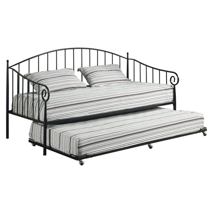 matt black metal twin size day bed daybed frame with pop up trundle furniture