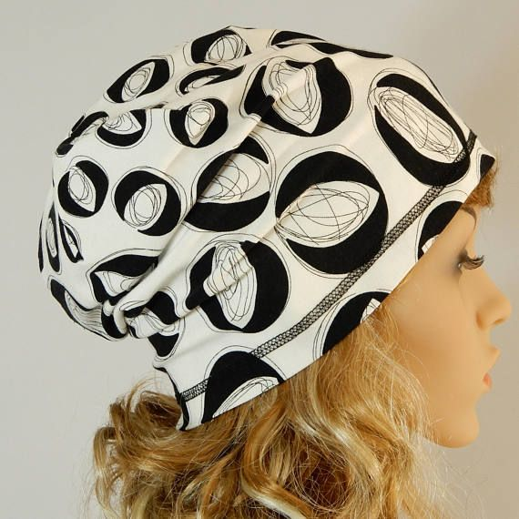 Reversible summer beanie adult Slouchy beanie Viscose jersey