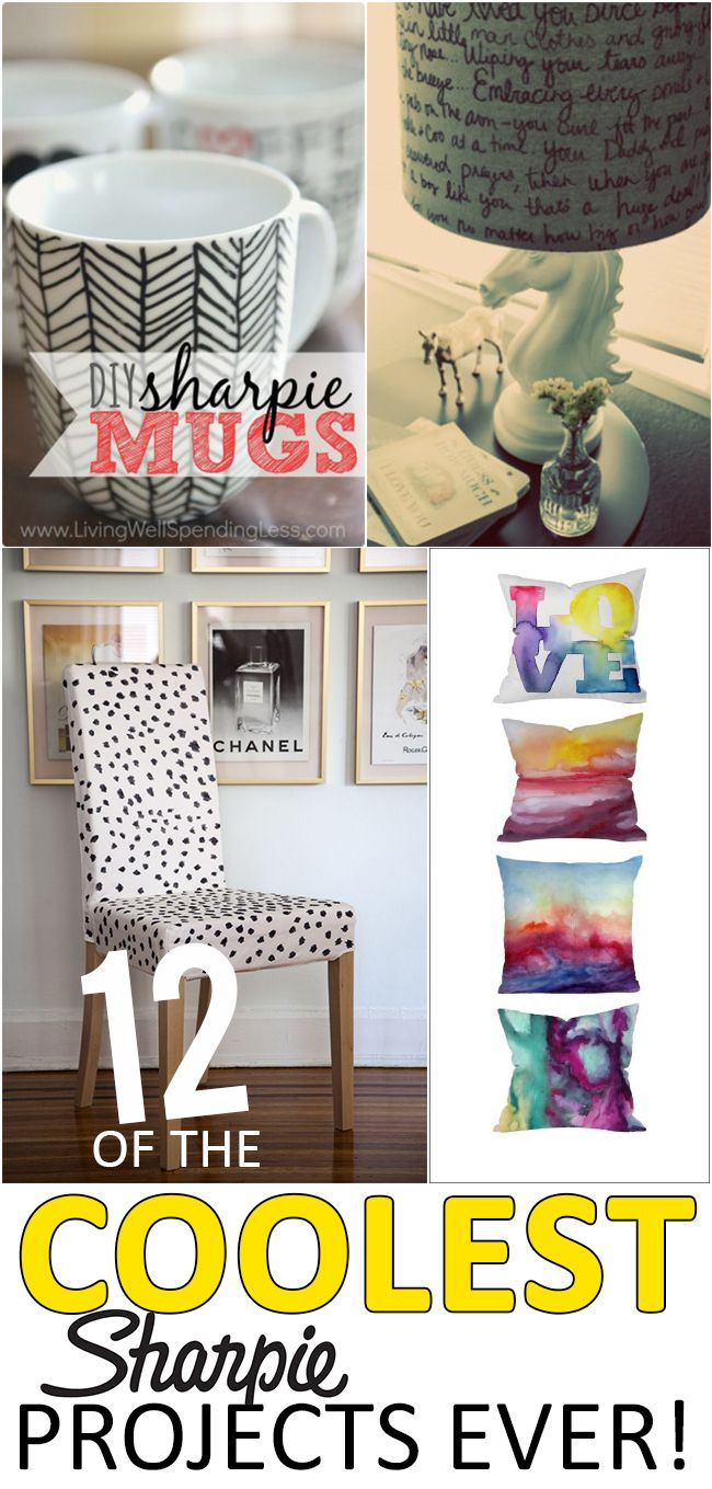 12 of the Coolest Sharpie Projects Ever!----Dress up all kinds of great stuff you buy at the Nashua Restore - lamps and mugs are so much fun when you apply sharpie art as surface decoration