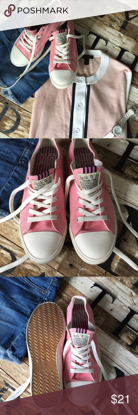 "Jack Wills Converse style Sneaker Darling pink 💕 ""Petal Shelton Plimsolls"" from the Jack Wills store in Cape Cod. Only WORN ONCE! Identical to converse with a preppy flare of a pink and navy grosgrain striped ribbon on tongue. Labeled size 6 (British size) which is a women's size 9. Jack Wills Shoes Sneakers"