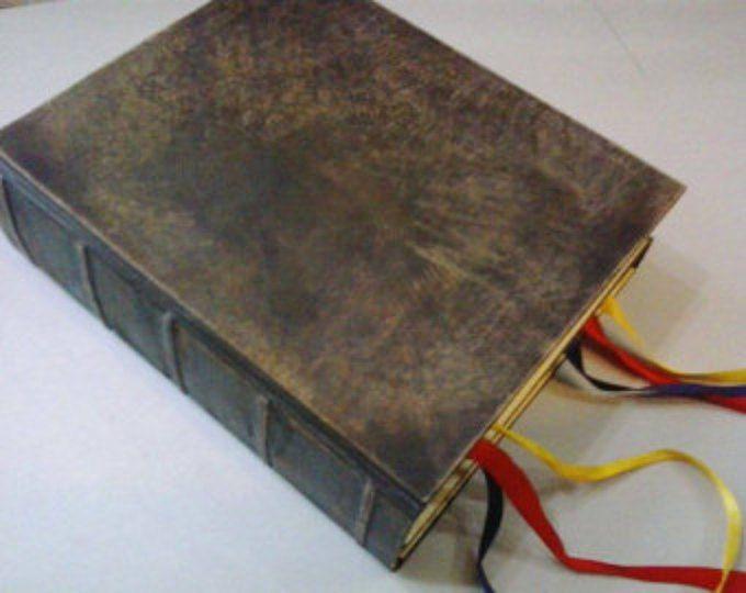 """MAGIA pratica grande doppia libro delle ombre - grimorio, vera pelle, riproduzione del libro nel film """"Magia pratica"""""""