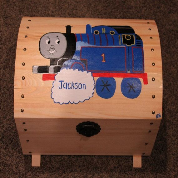 Hand Painted Thomas the Train Toy Chest, Treasure Trunk, Toy Box, Thomas and Friends - perfect for keepsakes, storage, organization on Etsy, $110.00