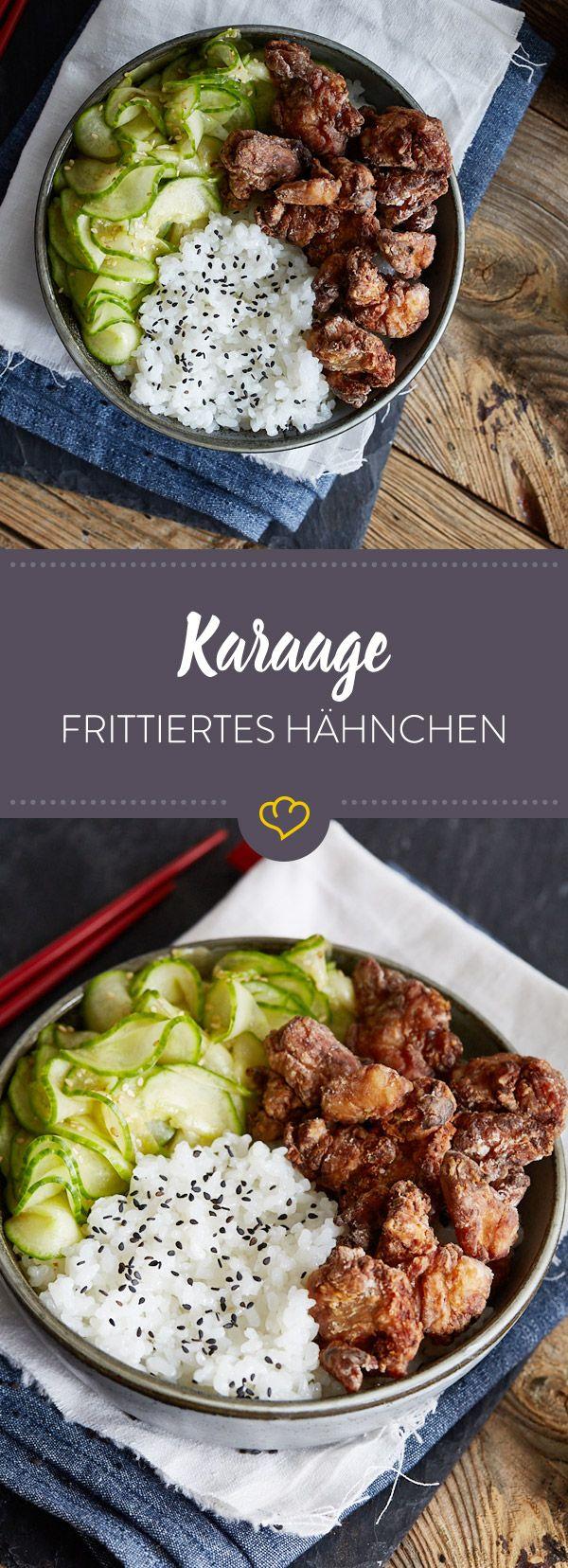 Japanische Karaage – frittiertes Hähnchen mit Sesam-Gurkensalat und Reis