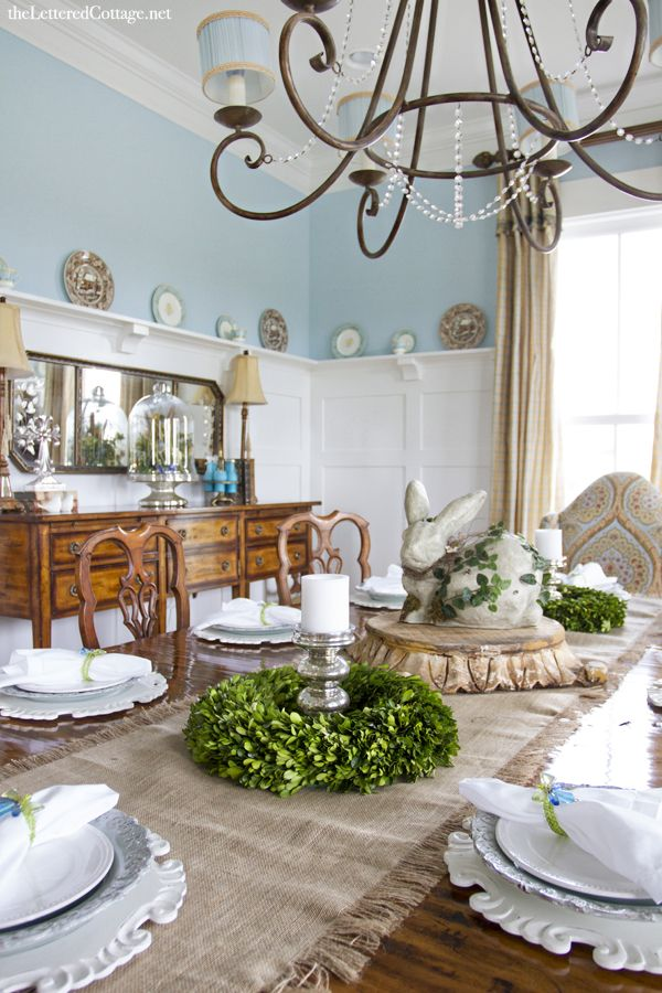 Traditional | Aqua Dining Room | The Lettered Cottage | Easter Decor