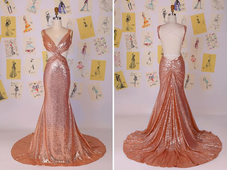 Sexy Sequins Hollow Open Back Mermaid Prom Dress/Champagne Sequin Dress/Champagne Sequin Evening Party Dress/Long Mermaid Prom Dress DAF0014 by DavisFashion on Etsy (null)