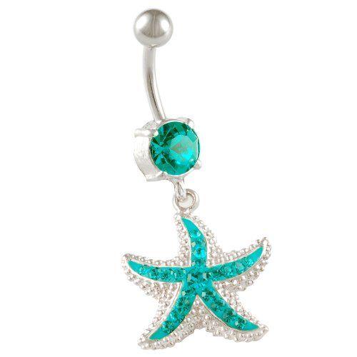"starfish belly button rings sexy dangle 14g 3/8"" a piece - choose a color - swarovski navel bars designer animal cute unique animal BEAG (Starfish Blue Zircon (Blue)) bodyjewellery,http://www.amazon.com/dp/B00G1XB4PA/ref=cm_sw_r_pi_dp_OndVsb06ASPZXFH5"