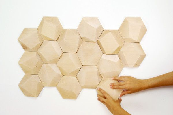 geometric wood wall tiles