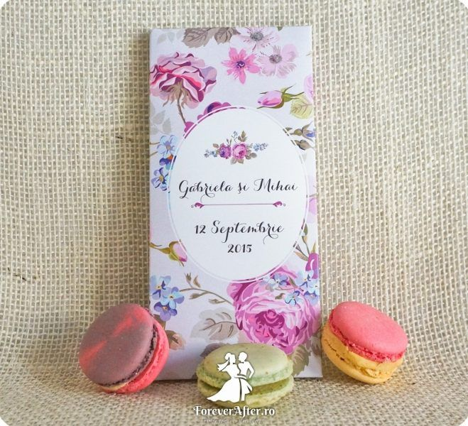 Invitatie de nunta cutie de ciocolata La vie en Rose