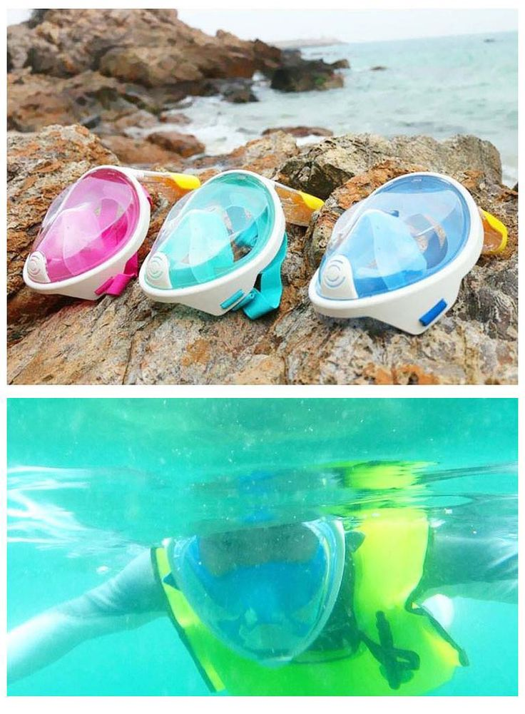 Silicone Full-Dry Diving Face Mask Snorkeling Goggles Glasses Lens Snorkel Gear Under Water