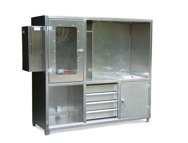 Stainless Steel Workstation   Stainless Steel Work Station With Sink.  Includes Upper Clear View Compartment