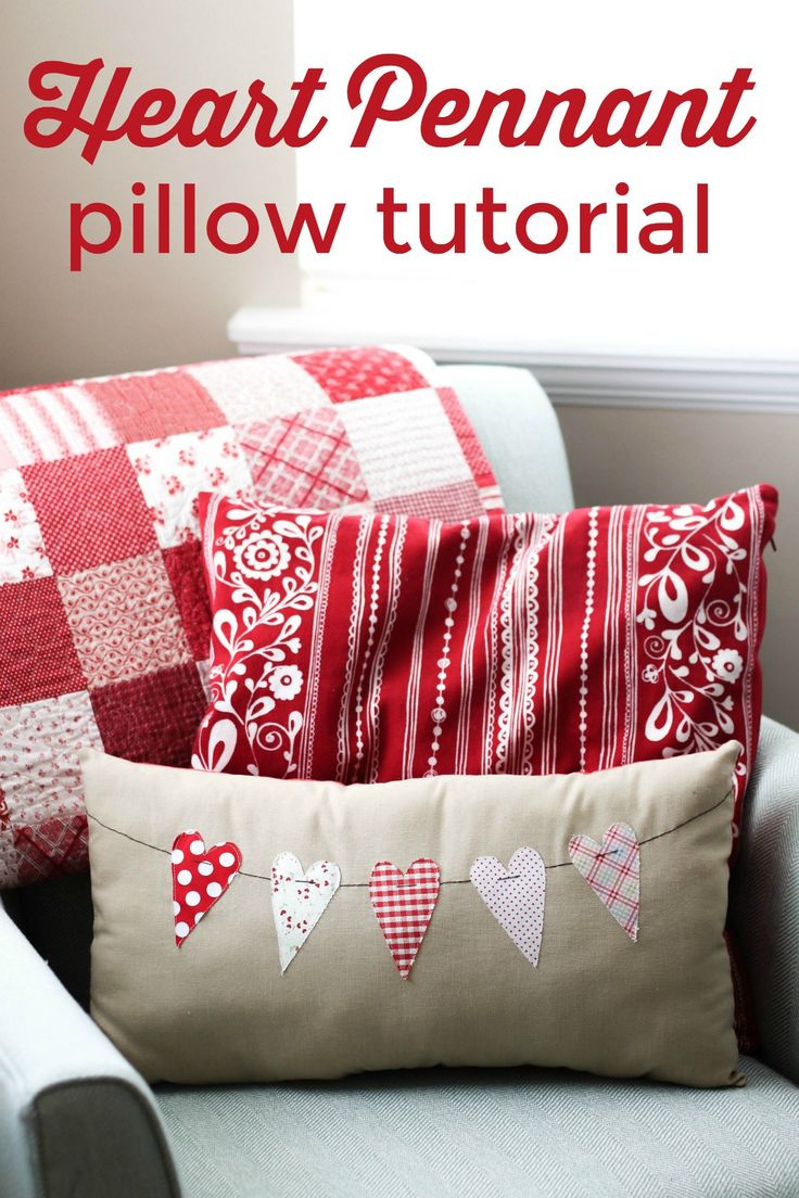 Valentine's simple sew pennant pillow from Amy at Diary of a Quilter