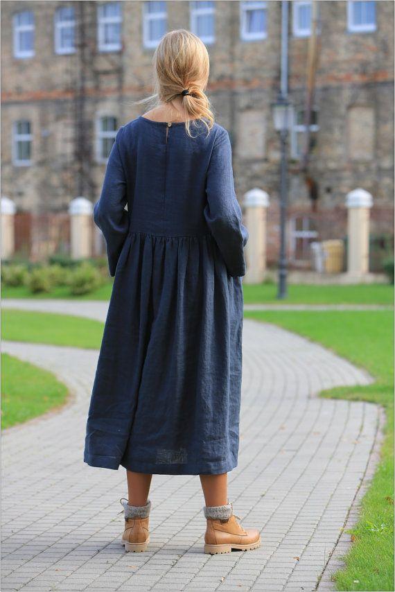 Linen dress. Long sleeved linen dress. Comfortable by LinenCloud