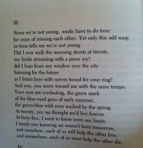 adrienne rich twenty one love poem Iii since we're not young, weeks have to do time for years of missing each other yet only this odd warp in time tells me we're not young did i ever walk the morning streets at twenty.