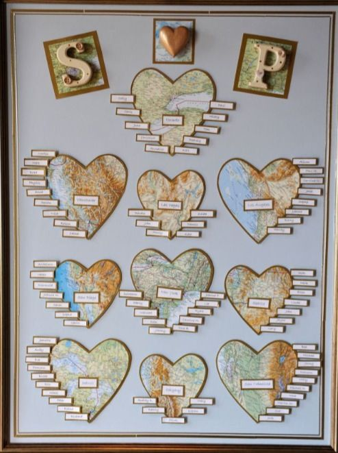 Map table plan wedding. Such a good idea for my global group of friends and family.
