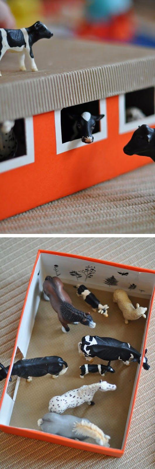 A DIY little barn using a shoe box #cleverKids