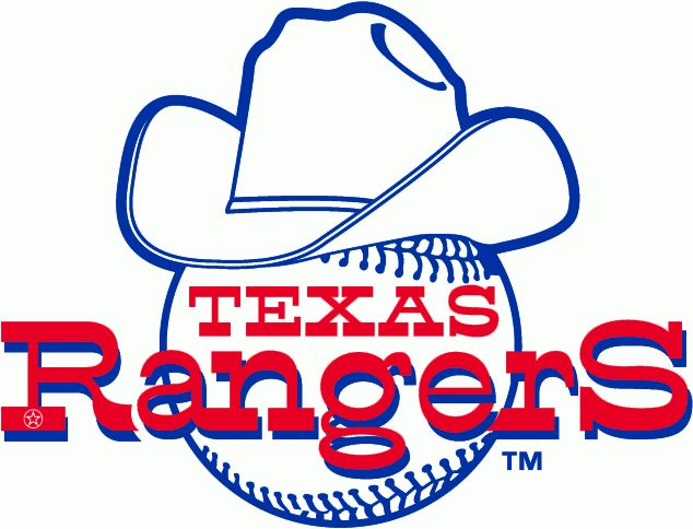 Texas Rangers Primary Logo (1972) - Rangers written across a baseball wearing a cowboy hat