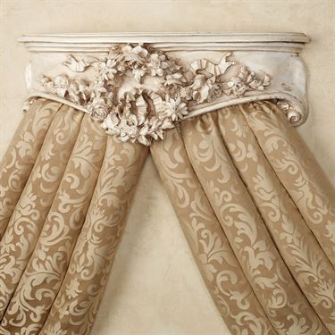 Floral Wreath Old World White Wall Teester Bed Crown