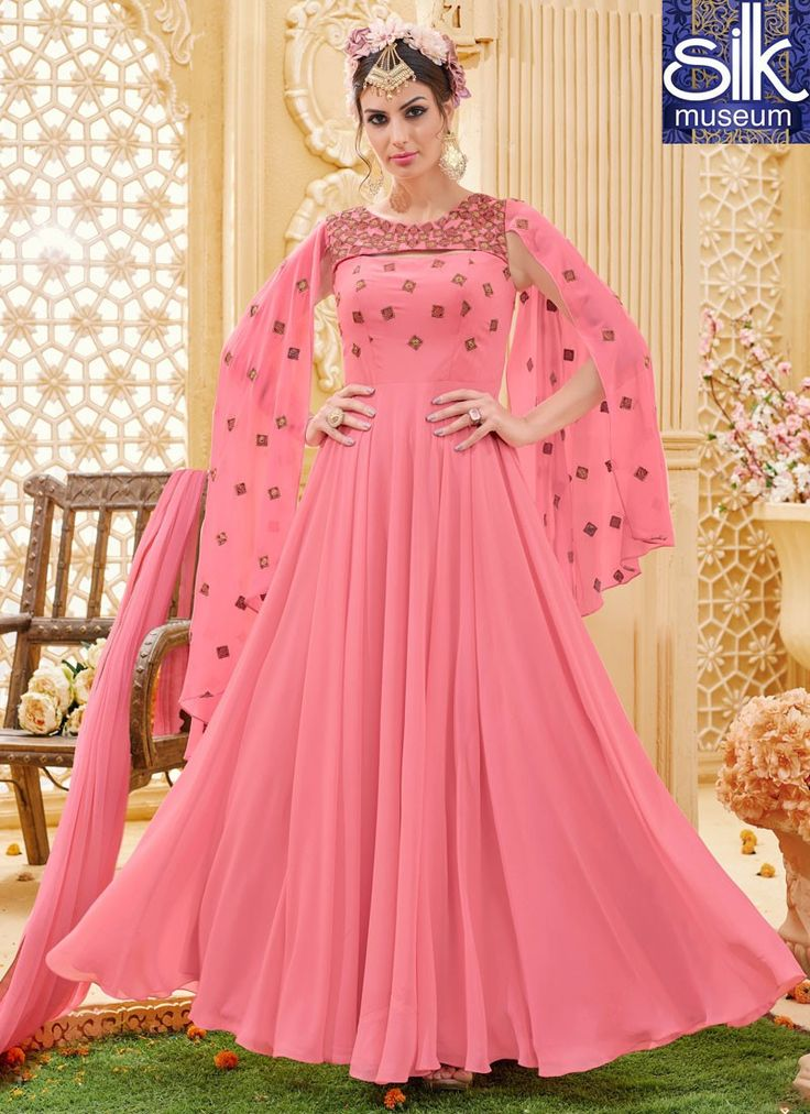 Lovely Pink Color Faux Georgette Designer Wedding Wear Floor Length Anarkali  For more details contact us at - silkmuseumsurat@yahoo.co.in