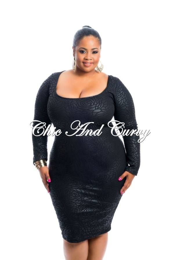 New Arrival   Bodycon Dress with Textured Fabric in Black with Scoop Neck   Available at: http://chicandcurvy.com/newarrivals/product/9946-outlet-plus-size-bodycon-dress-with-textured-fabric-in-black-with-scoop-neck-1x-2x-3x