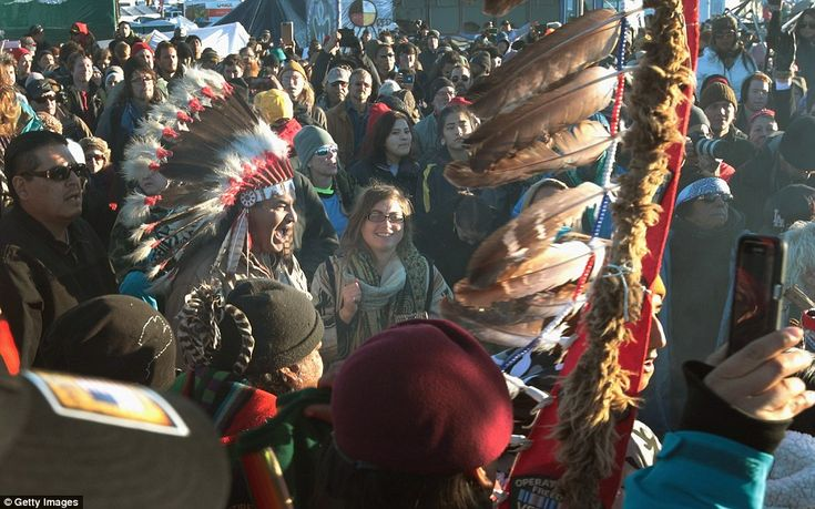 Protesters opposed the $3.8 billion pipeline, saying the project, slated to carry 570,000 barrels of crude oil a day across four states, could harm drinking water and Native American cultural sites