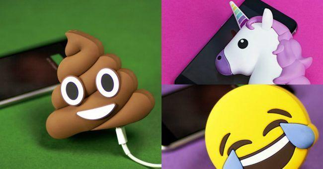 [TOPITRUC] Une batterie externe pour téléphone en Emoji : caca licorne smiley aubergine