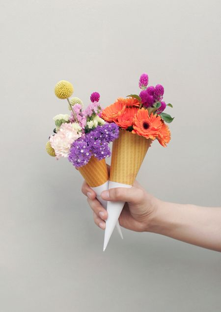 Will someone please bring me some flowers in a cone? Thanks.