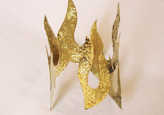 tatoo brass cuff braceletbig asymmetrical metal cuff by paramithi