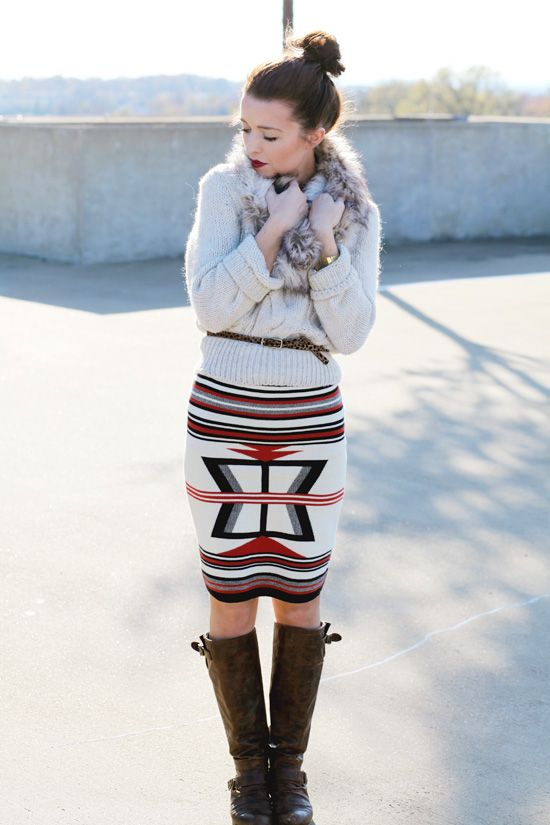 Sweater &  leopard belt, tribal print skirt