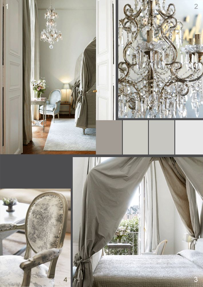 Sublime canopy bed and chandeliers! #French #chateau #canopy #campaign #toile de jouy #chandelier #bed #bedroom