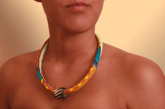 Colourful simple African fabric statement necklace