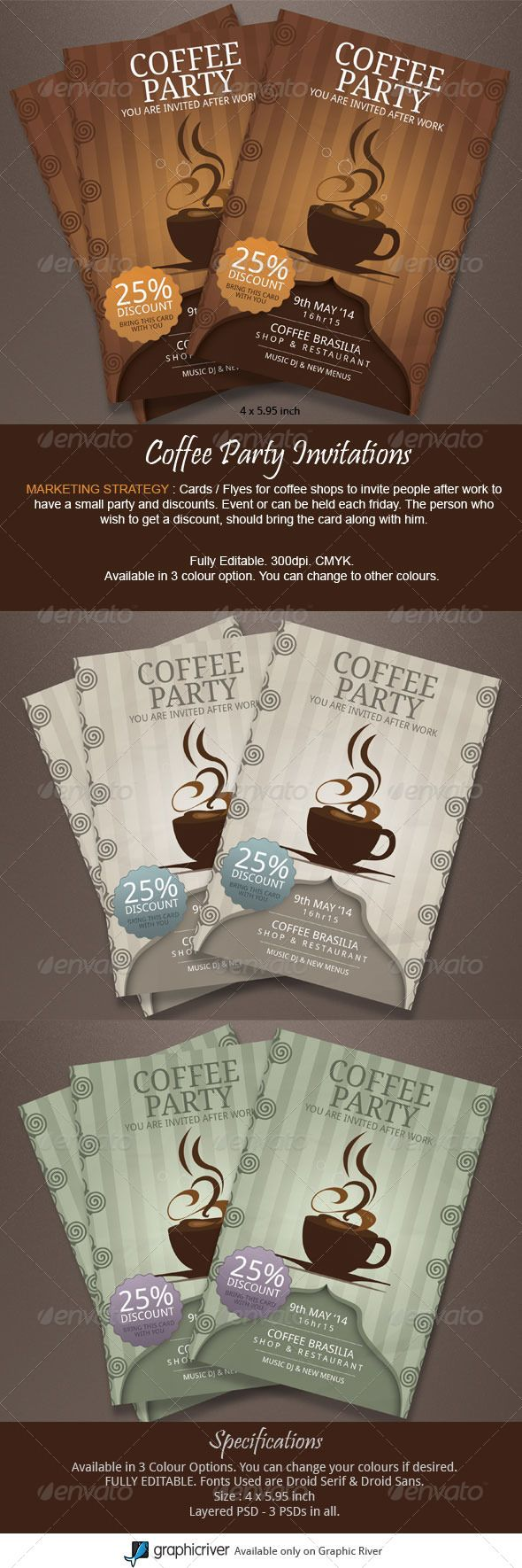 Coffee Party Invitations
