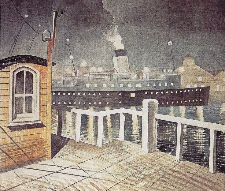 'Brighton' Leaving Newhaven by Eric Ravilious 1935 (Priv Coll). Sussex. The steamer 'Brighton' transported mail between Newhaven and Dieppe.
