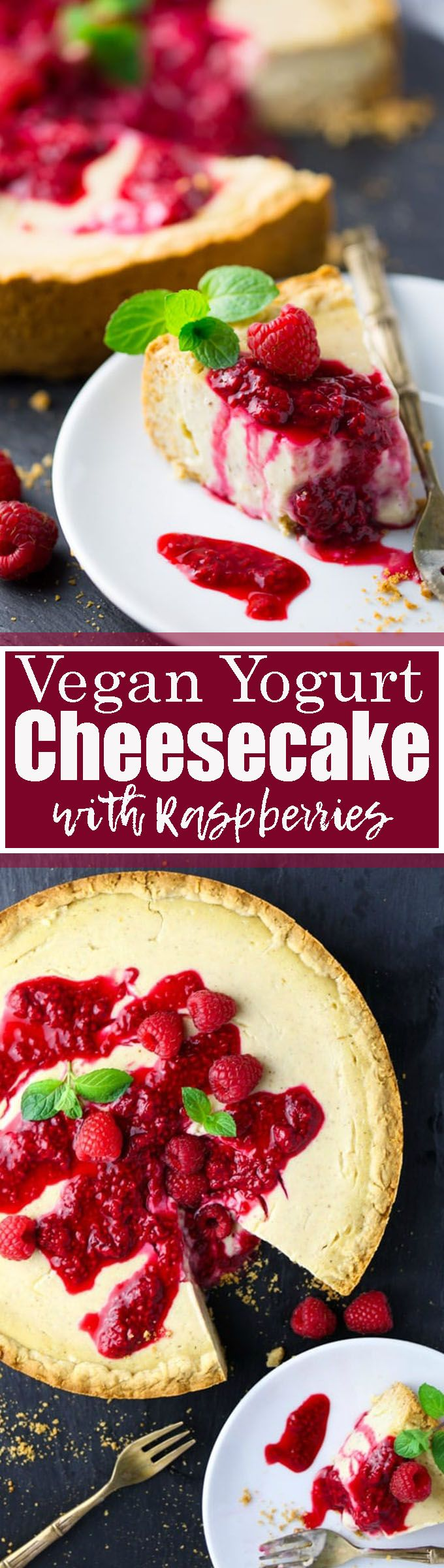 This vegan cheesecake with raspberry sauce is one of my favorite vegan dessert recipes! It's made with plant-based yogurt instead of cashews, which makes it much lighter than most vegan cheesecakes!