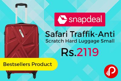 """Snapdeal #Bestsellers Product brings 63% off on Safari Traffik-Anti Scratch Hard Luggage Small 60 cm at Rs.2119. Red Color, Made of Polycarbonate Material. Dimension (LxHxW) cm : 56*40*23 cm, 3 years International warranty. What the Swahili call """"journey"""". And, every journey brings with it new experiences.   http://www.paisebachaoindia.com/safari-traffik-anti-scratch-hard-luggage-small-60cm-at-rs-2119-snapdeal/"""