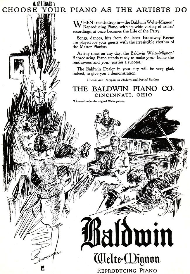 Baldwin piano ad -1926. A Baldwin piano is what I had as a child and practiced on through 12 years worth of lessons. When I became a piano teacher as an adult, I taught about 30 years worth of lessons on my own Baldwin. My Baldwins were great pianos.