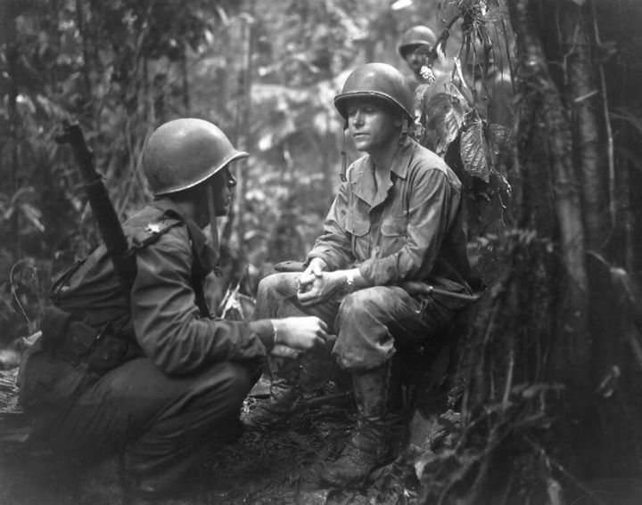 US Army Major General J. Lawton Collins and Major Charles Davis at New Georgia Solomon Islands 14 August 1943.