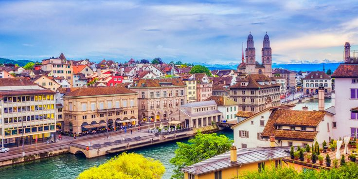 Zurich Switzerland sky outdoor water cityscape Town landmark geographical feature City human settlement urban area River skyline scene vacation tourism Downtown Harbor panorama travel palace